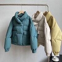 Abrigo de invierno de manga larga con cuello levantado para mujer, chaqueta azul, abrigo holgado, cálido, 2020