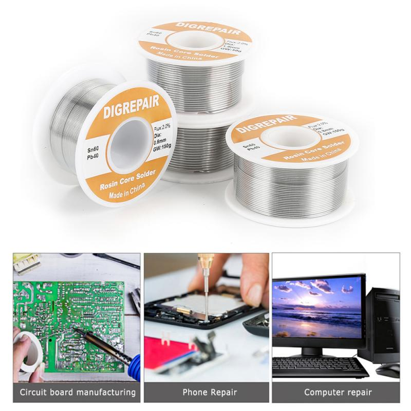 150g/roll Tin Lead Rosin Core Solder Wire 0.6mm 0.8mm 1.0mm 1.2mm 2% Flux Reel Welding Line Rosin Core Solder For Soldering New