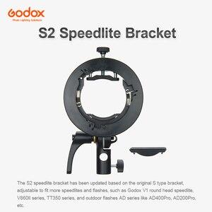 Image 2 - Godox S2 Flash S type Holder Speedlite Bracket Bowens Mount for Godox V1 V860II TT350 AD400Pro AD200Pro Speedlite Flash Beauty