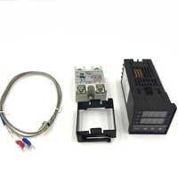 Régulateur de température numérique RKC PID Thermostat numérique REX-C100 + 40A SSR relais + K sonde Thermocouple