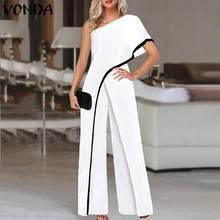 VONDA – pantalon Palazzo à jambes larges pour femmes, combinaison ample et unie à une épaule dénudée, salopette 5XL, 2021