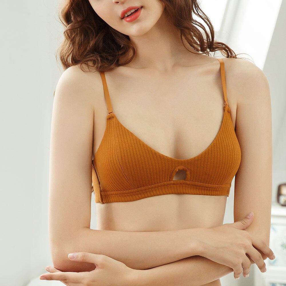 Womens Bra Sexy Small Bosom Maiden Push Up Bras Lingerie Tops Cotton Wireless Brassiere Removable Padded Underwear Bralette 2