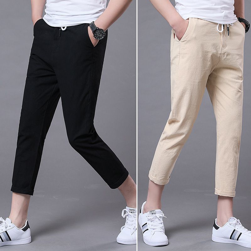 Summer Men'S Wear New Style Pure Cotton Imitation Linen Casual Pants Solid Color Men Slim Fit Straight-Cut 9 Capri Pants Men's T