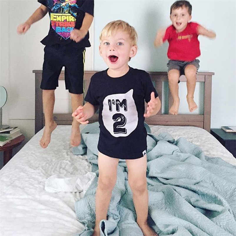 เสื้อยืดเด็กชายผม 1 2 3 4 5 6 ปีชุดวันเกิดเด็กวัยหัดเดินTเสื้อเสื้อผ้าสาวแขนสั้นเสื้อฤดูร้อนด้านบน