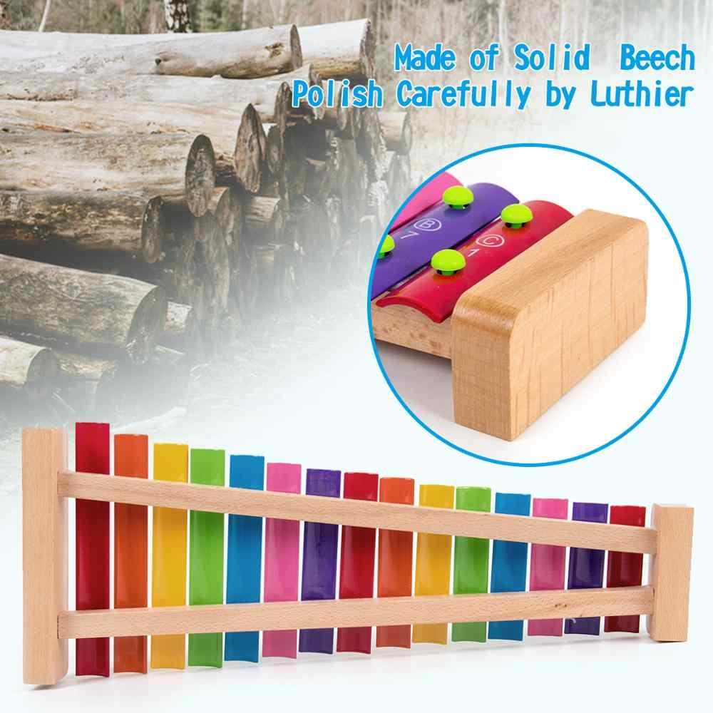 Kmise Holz Xylophon Musical Spielzeug Baby Enfant Kinder mit Schlägel 15 Tasten Ungiftig Vorschule Lernen