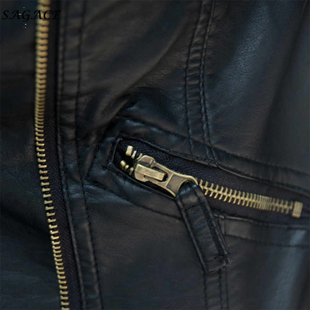 Sagace Pakaian Mantel Wanita Fashion Kasual Lembut Lengan Panjang Trendi Kulit Zipper Jaket Slim Biker Mantel Sepeda Motor Punk Lebih Tahan Dr