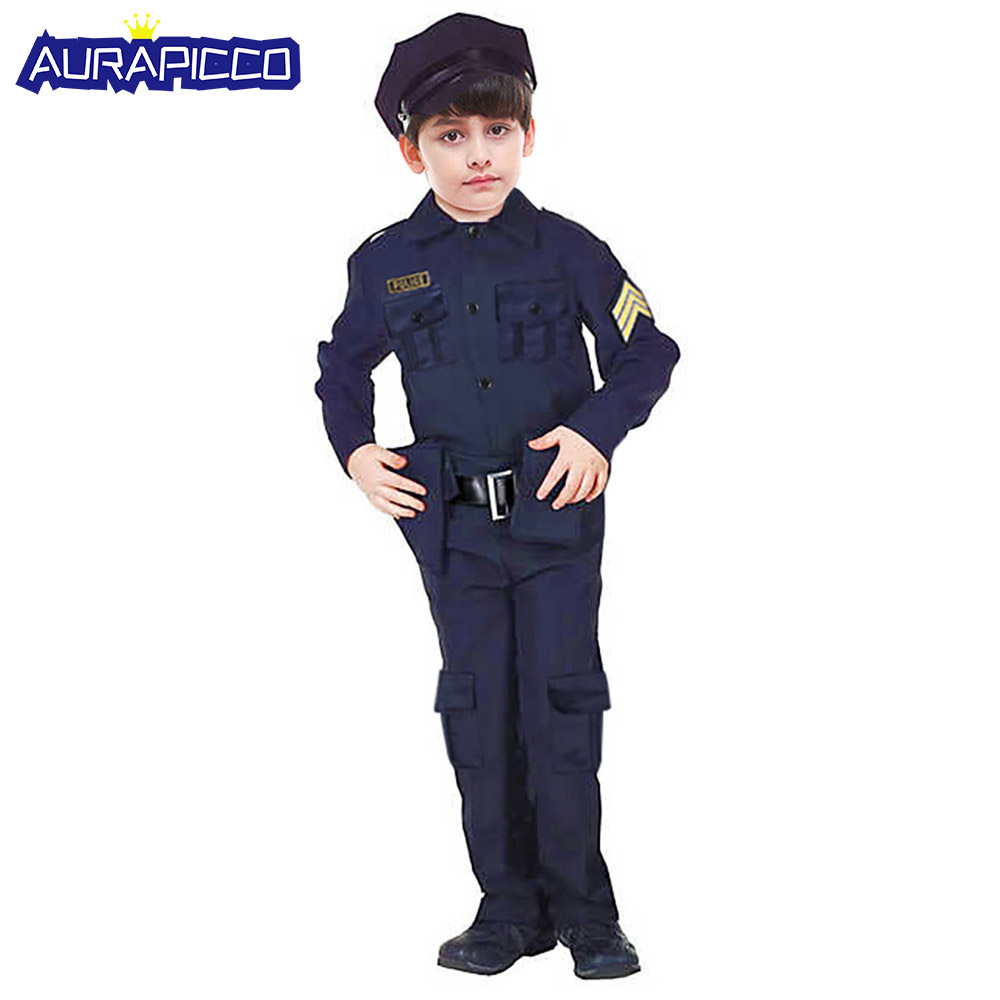 Kids Boys Police Officer Costume Little Cop Halloween Fancy Dress Child Deluxe Role Play Outfit Professional Carnival Cosplay