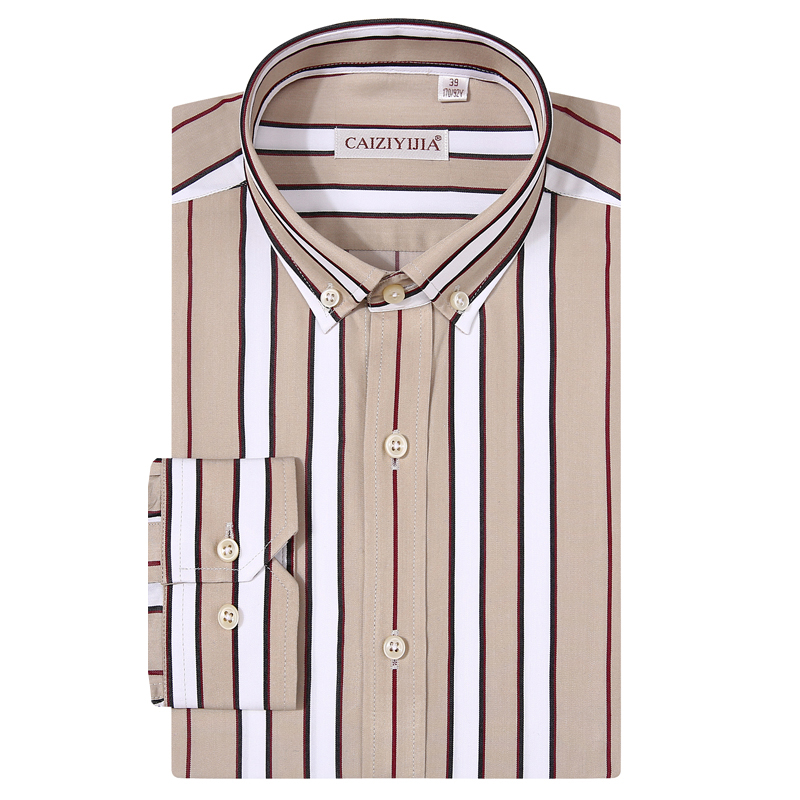 Men's Long Sleeve Casual Striped Modal Cotton Shirt Premium Comfortable Standard-fit Button-down Collar Easy-care Shirts
