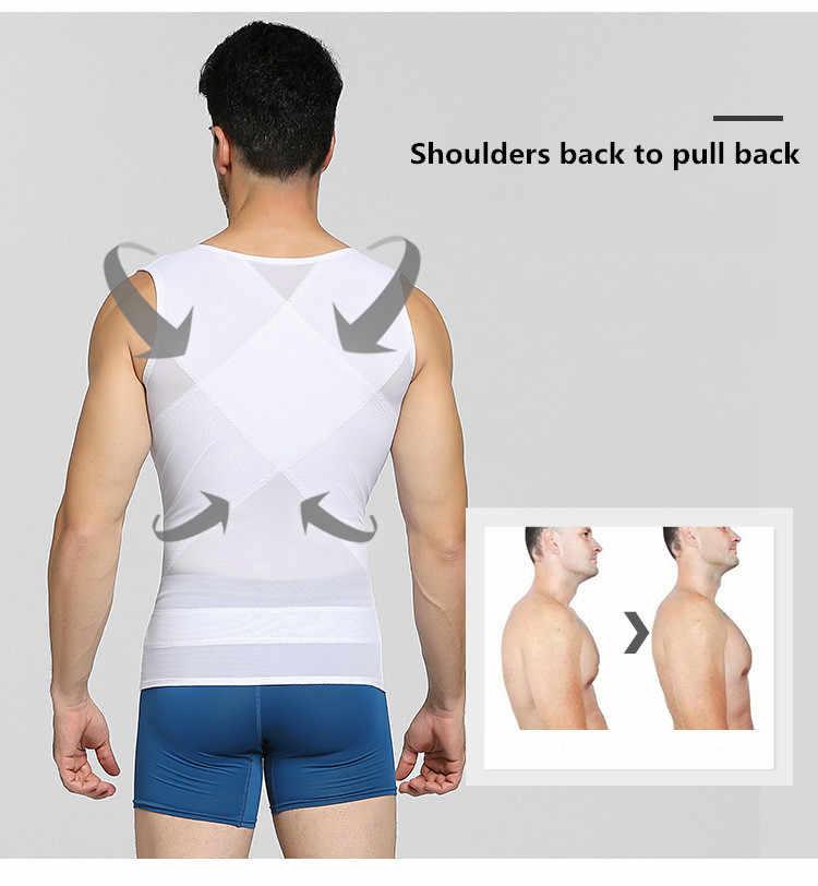 Erkek vücut şekillendirici sıkıştırma gömlek karın Shapewear karın zayıflama kılıf jinekomasti şekillendirme korse bel eğitmen Fajas Tops