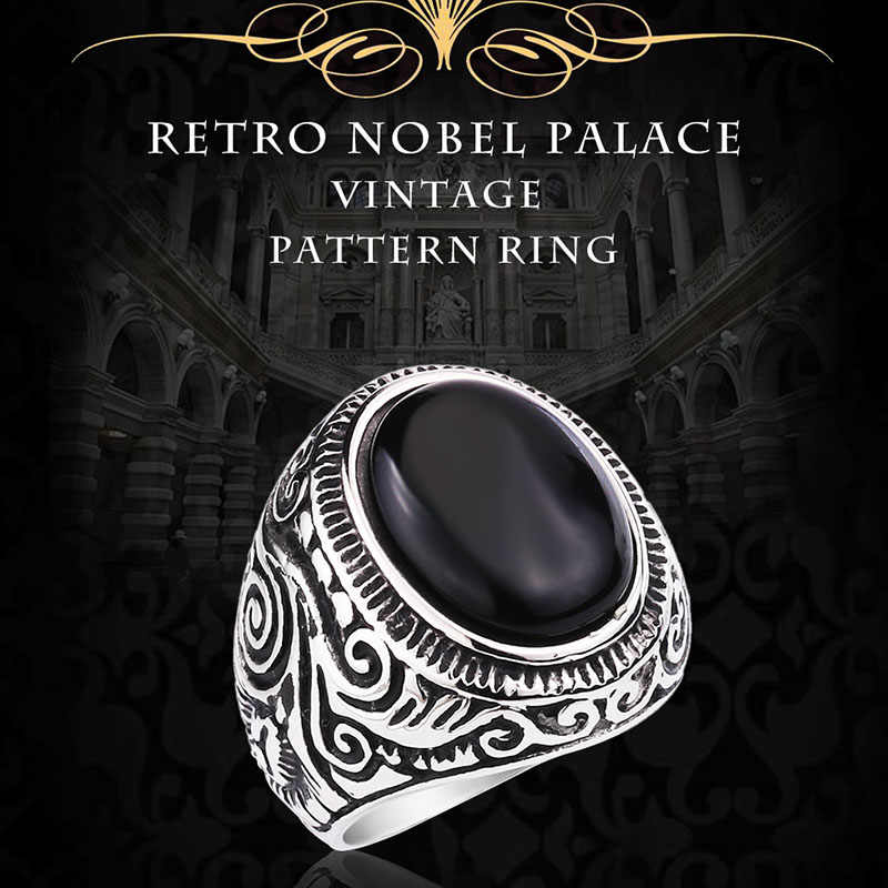 BEIER 2017 Natural Oval Opal Green Stone Ring Stainless Steel Vintage Nobel Palace Ring For Woman Man Europe BR8-186