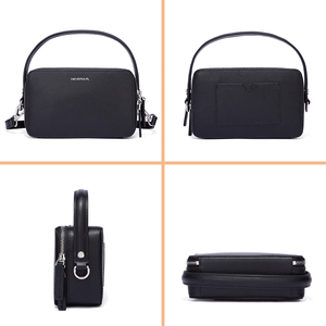Image 5 - NEVEROUT ブランドの小さなハンドバッグ分割レザーショルダークロスボディバッグハンドルと女性ジッパーフラップバッグブラック/ グリーン/グレー