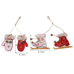 2pcs/set Wooden Snowflake Gloves Sleigh Bells Hanging Pendant Christmas Tree Decoration Ornaments Christmas Decorations for Home 6