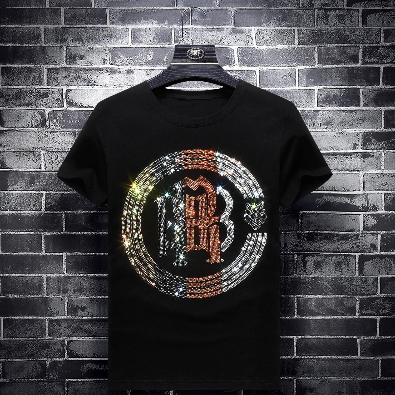 2019 Fashion Colorful Rhinestones Mens T Shirts Slim Short Sleeve O Neck Streetwear Modal Cotton Tee Camisetas De Verano Hombre