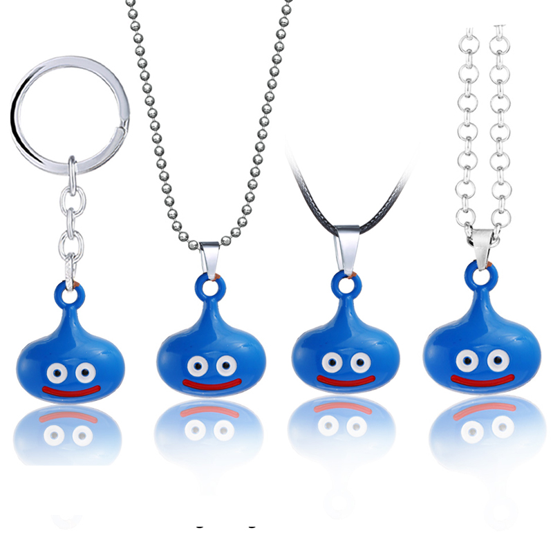 Game Dragon Quest Warrior Kuesuto Keychain Blue Cute Pendant Keyring Game Jewelry Leather Chains Necklace Slime Accessory Men image