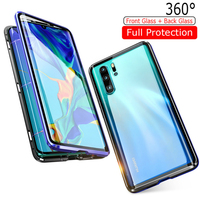 10pcs Luxury Full Magnetic Adsorption Case For Huawei P30 Pro Case 360 Transparent Tempered Glass Back Cover For Huawei P30Pro
