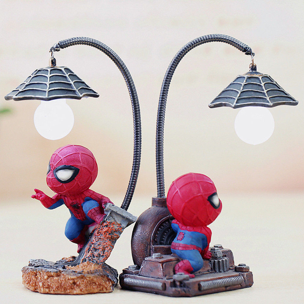 HOT Spiderman Led Night Light Resin Spider Man Lamp for Children Kids Rooms Home Left Decor Birthday Christmas Gifts-in Night Lights from Lights & Lighting
