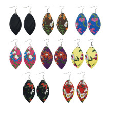 Three Layered Leather Earrings Fashion Women Jewelry Charm Gifts Leaf Flower Pattern Drop