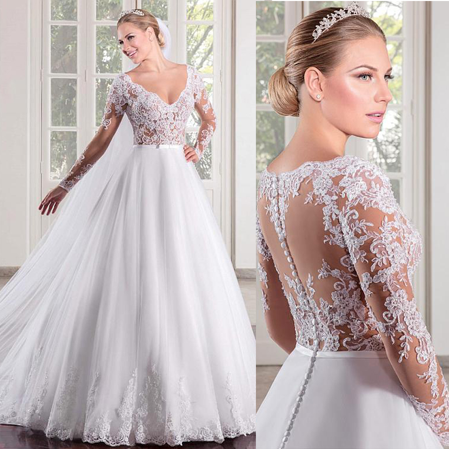 Marvelous Tulle V-neck Neckline See-through Bodice A-line Wedding Dress Long Sleeves Illusion Back Bridal Gowns