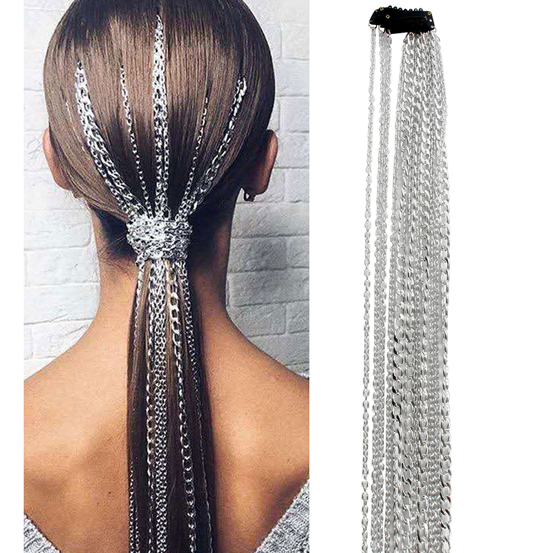 Bling Metal Style Ponytail Long Tassel Chain Hair Accessories Clip Bridal Wedding Prom Hair Extensions Accessories Aliexpress