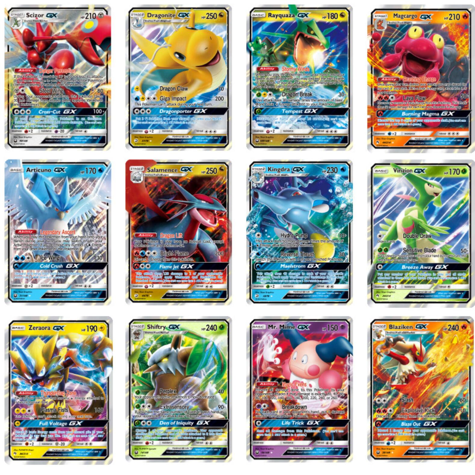 No Repeat 200 Pcs Pokemons GX For TAKARA TOMY Carte Cards GX Shining Game Battle Carte Card Game For Children Toy