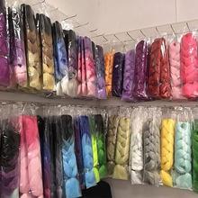 24 pulgadas 105 Color luminoso Jumbo trenzado de cabello Pre estirado Afro Ombre Trenza para pelo sintético extensión para caja de Twist trenzas