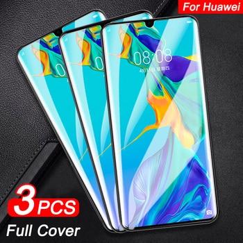 Перейти на Алиэкспресс и купить Закаленное защитное стекло с полным покрытием для Huawei P30 P40 Lite P20 Pro, 3 шт., Защита экрана для Honor 10 9 Lite 20 Pro, стекло