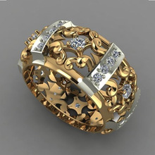 New Design Hollow Flower Pattern Finger Rings for Men Women Luxury Brand Gold Silver Color Two Tone Filled Wedding P3P189