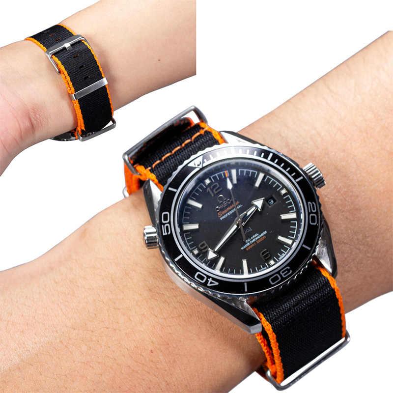 ONEON 20 مللي متر 22 مللي متر حزام ساعة نيلون برتقالي/رمادي/أزرق/أحمر ديلوكس قسط الناتو نمط الرجال الرياضة ساعة معصم باند ل iwatch معصمه