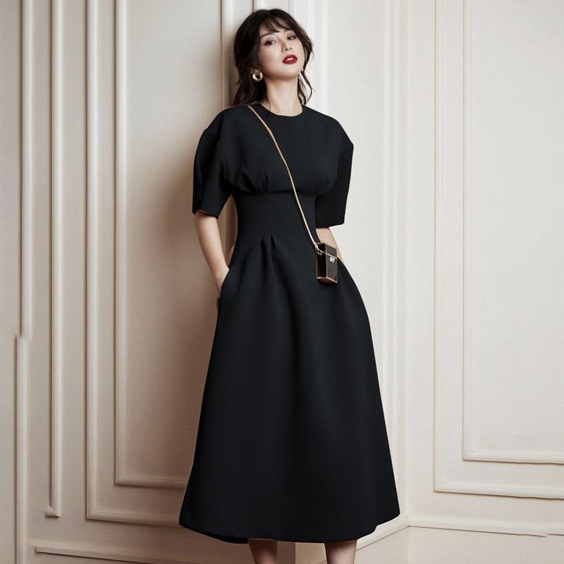Verão outono mangas curtas o pescoço vestido ol colete cintura vermelha longo formal vestido feminino vestidos elegantes nova chegada 2019 aa5090 - 4
