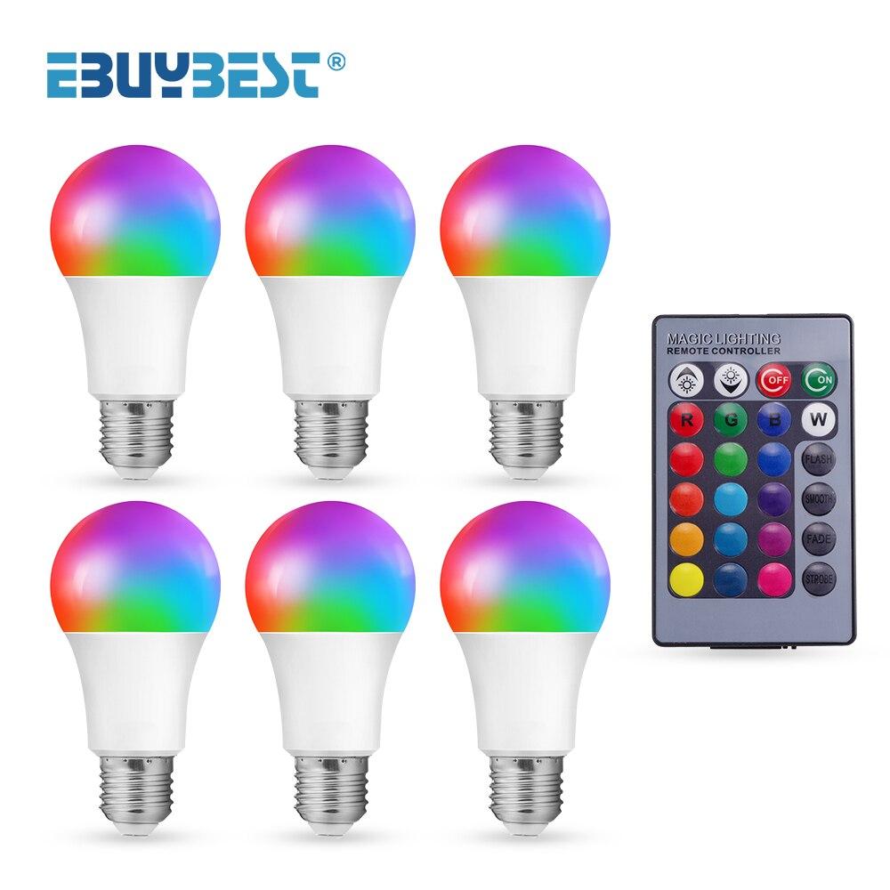 Умная лампа E27 10 Вт 15 Вт AC 85-265V Светодиодная лампа Цвет изменение затемнения светодиодные лампы RGB светильник лампа с дистанционным Управлен...