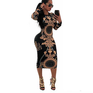 Clubwear Dresses Long-Sleeve Bodycon Party Print Sexy Striped Casual Women Ladies O-Neck