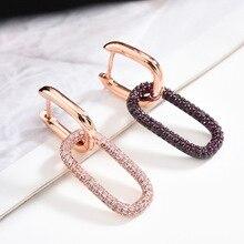 Simple Fashion Retro Earring Chain Shape Purple Rhinestone Single Hoop Earring Jewellery for Women Lady Girls