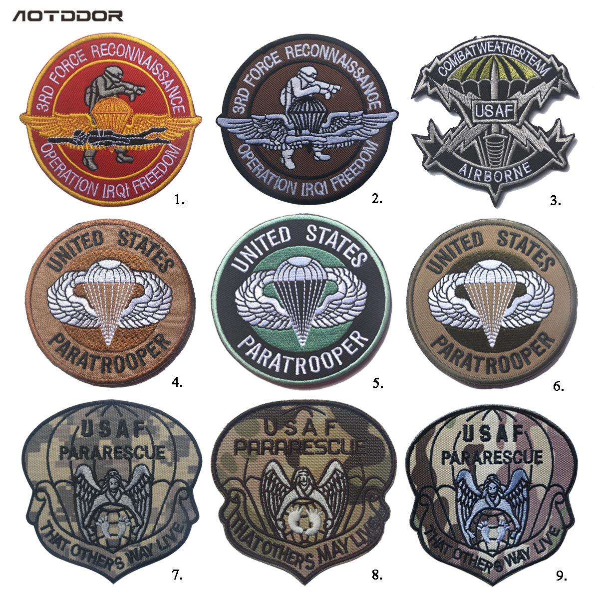 Army Fans Outdoor America USAF Paratroopers Embroidered Armband Backpack Velcro Tactical Cool Sticker Morale Epaulet