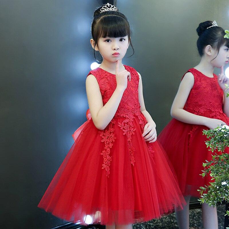 2019 Spring And Summer New Style Children Wedding Dress Princess Dress Girls Costume Flower Boys/Flower Girls Puffy Non-Sequin Y