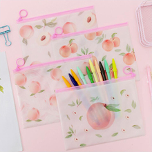 Pink Peach Pencil Case Office Stationery And School Supplies High Capacity PVC Material Pencil Bag 1PCS цена 2017