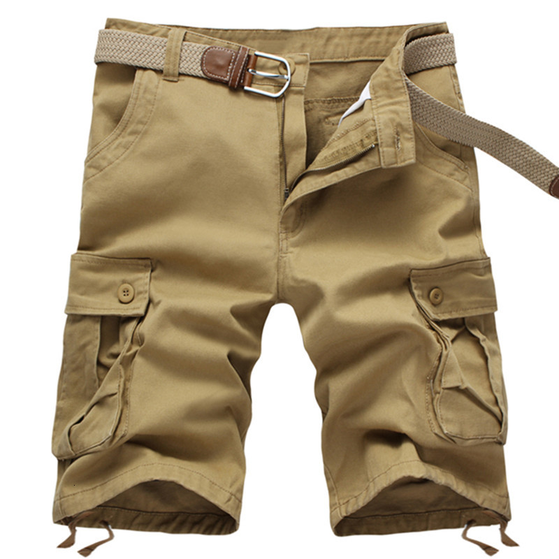 2019 NEW Summer Men Baggy Multi Pocket Military Rits Cargo Shorts Men's Long Army Green Kaki Men Tactical Short