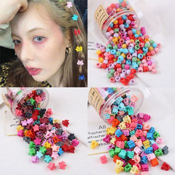 30Pcs Summer New Candy Color Colorful Star Bead Shaped Hair Claws for Women Popular Small Clip Stick Accessories