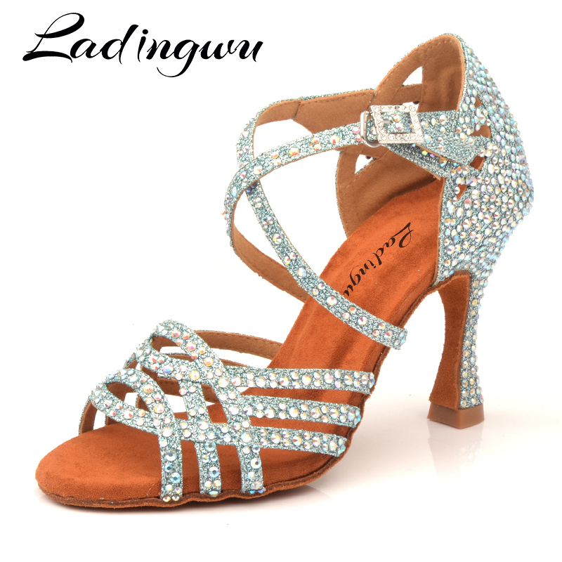 Ladingwu Rhinestone Latin Salsa Performance Dance Shoes Dancing Shoes Ballroom Dance Shoes Women Light Blue Glitter Cloth Dance