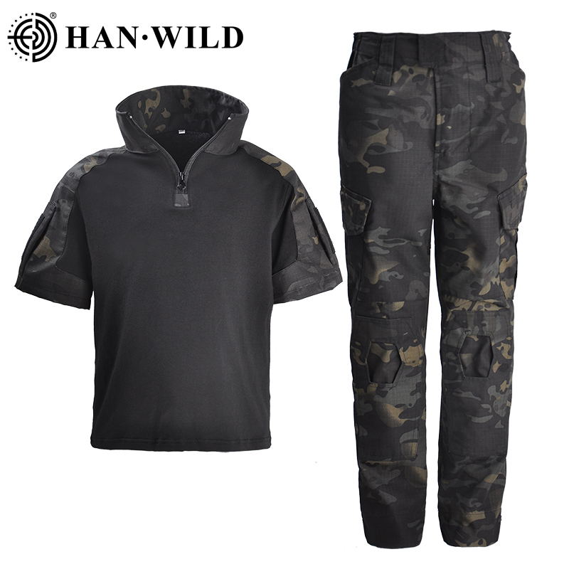 Tactical Military Army Uniform Teenager US Army Breathable Forces Camouflage Rapid Assault Short Shirt Cargo Pants and Knee Pads