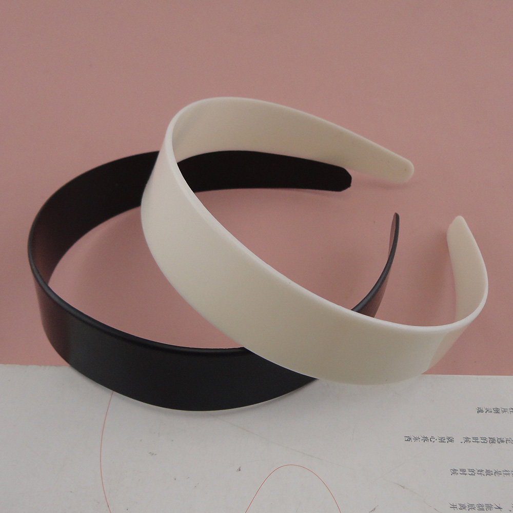 2PCS 2.5cm 2.8cm White No Teeth Plain Plastic Hair Headbands For Womens Black Raw Hair Hoops Hairbands As DIY Girls Accessories