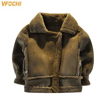 VFOCHI New Boys Girls Wool Coat Suede Jacket Winter Kids Windproof Coat Children Clothing Unisex Boys Girls Wool Coat Outerwear