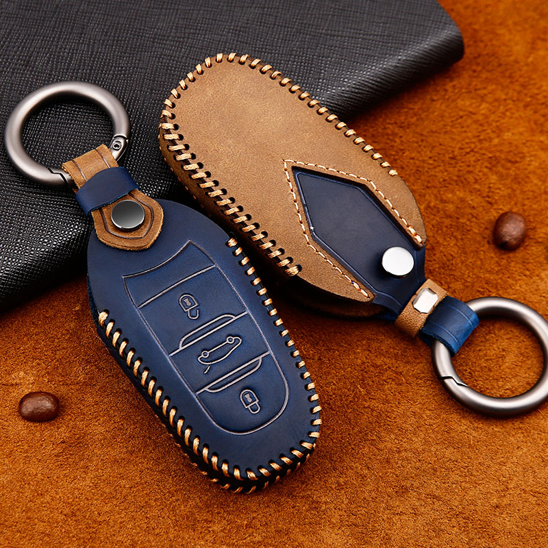 Crazy Horse Leather car key case for <font><b>Peugeot</b></font> 301 208 <font><b>3008</b></font> 5008 408 2008 308 508 2013 2014 2015 <font><b>2016</b></font> 2017 2018 2019 accessories image