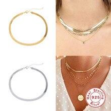 Aide 925 prata esterlina gargantilha colares feminino clavícula corrente plana cobra colar para mulheres jóias finas bonito acessórios presente