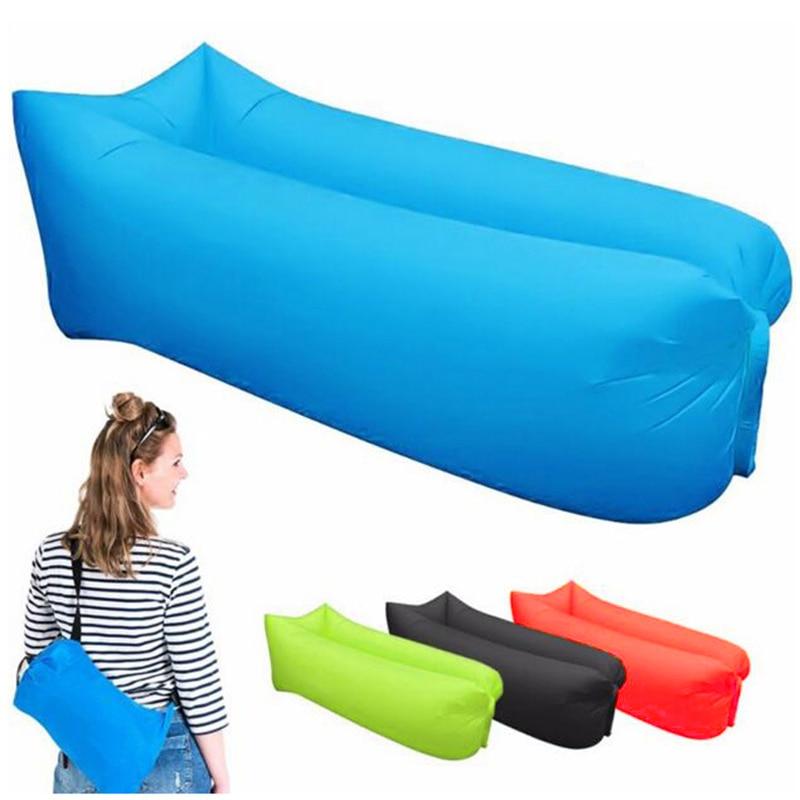 Outdoor Camping Inflatable Sofa Lazy Bag 3 Season Ultralight Beach Sleeping Bag Air Bed Lounger Sports Camping Travel Sack X1A