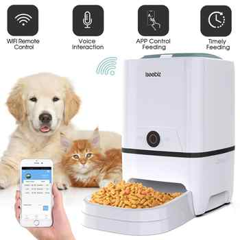 Iseebiz Automatic Cat Dog Feeder with WiFi Pet Food Dispenser  6 Meals Voice Recorder and Timer Programmable Portion Control - DISCOUNT ITEM  30% OFF All Category