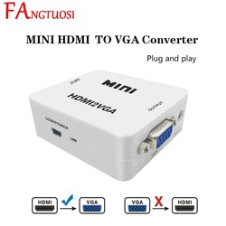 FANGTUOSI HDMI to VGA Adapter Converter Mini HD 1080P HDMI to VGA Converter With Audio for PC Laptop for HDTV Projector