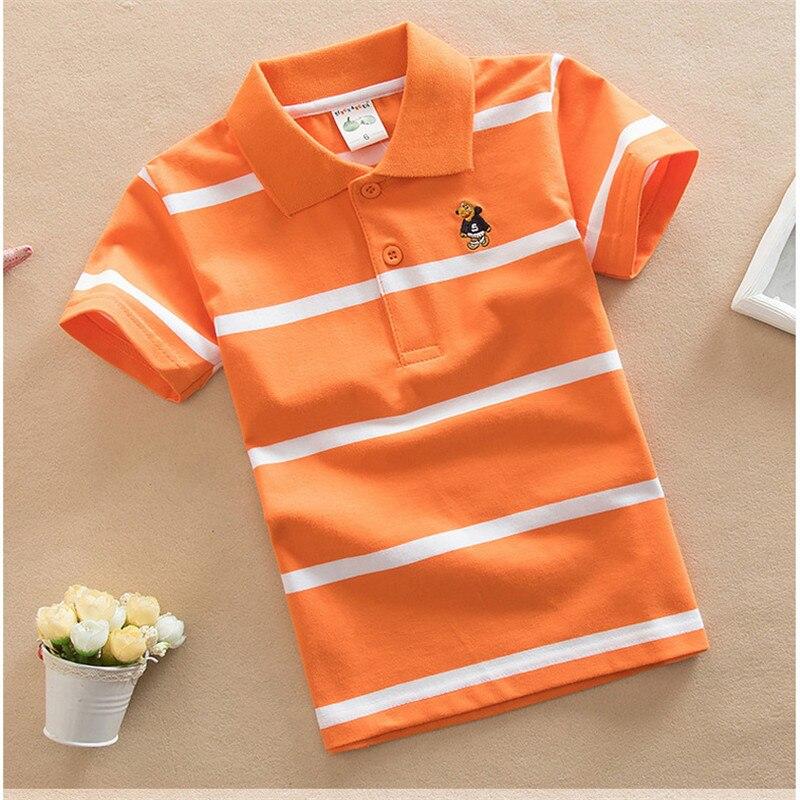 Jargazol T Shirt Kids Clothes Turn-down Collar Baby Boy Summer Top Tshirt Color Stripes Vetement Enfant Fille Camisetas Fnaf 4