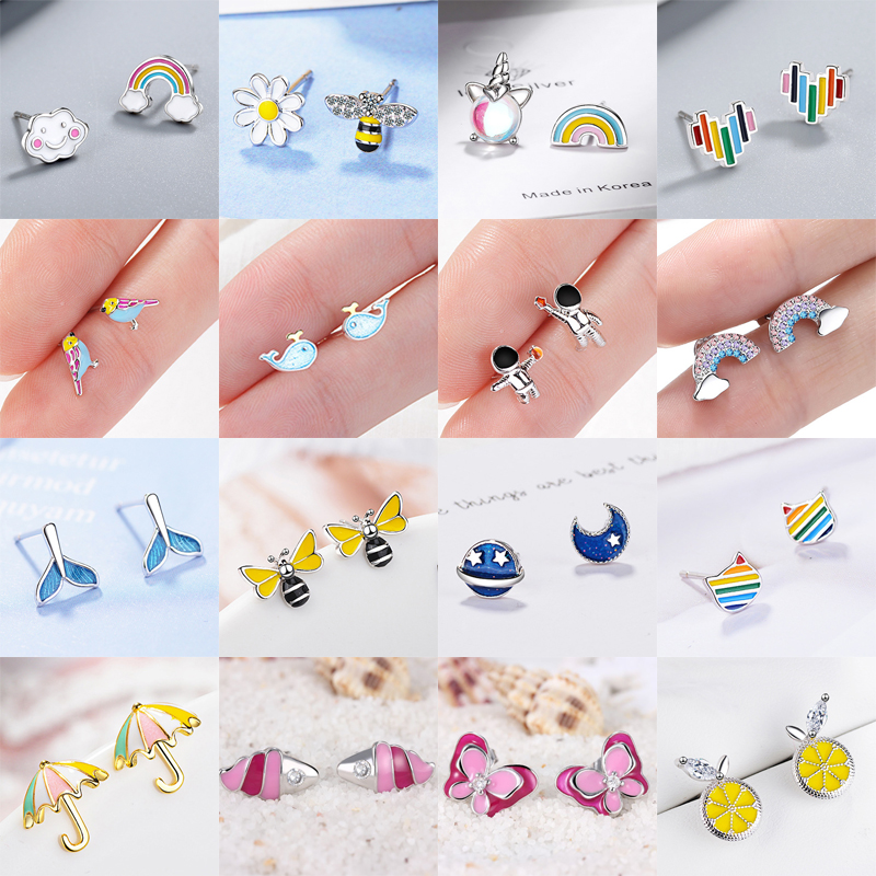 FENGLI Lovely Children Stud Earrings Oil Bee Whole Cartoon Small Earring 925 Silver Cat Rainbow Colorful Jewelry Women 2019 Gift