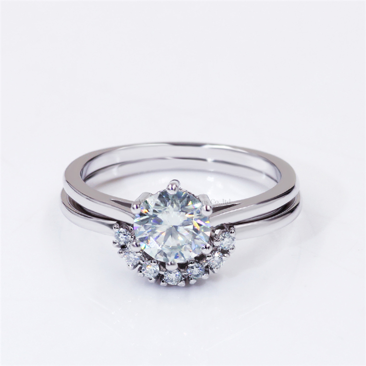 Tianyu Gems 6.5mm Round Moissanite Engagement Ring Gold Plated Finger Band 6 Claw