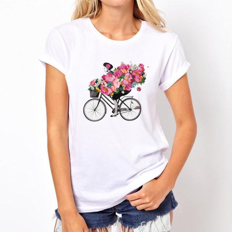 2019 Women Large Size T-Shirt Slim Letter Character Cute Print T-shirt Harajuku Female Leisure Fashion Aesthetic